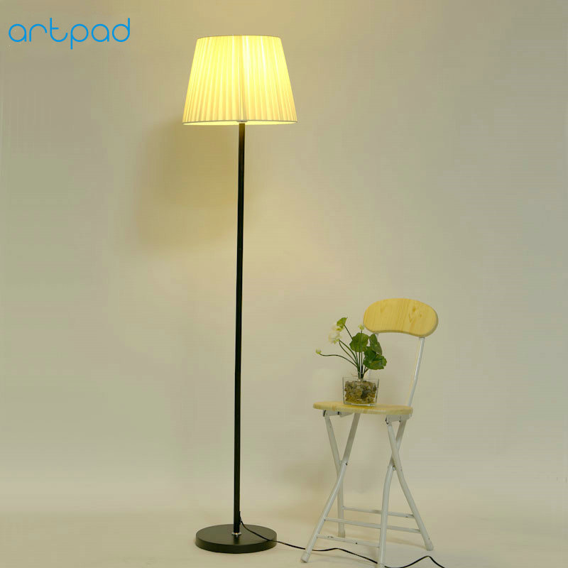 Artpad Nordic Japanese Style Floor Lamp For Living Room Bedroom Fabric Lampshade E27 Stand LED Floor Light with Foot Switch artpad nordic modern floor lamp princess pink fabric lampshade iron e27 led standing floor light for wedding girl bedroom decor