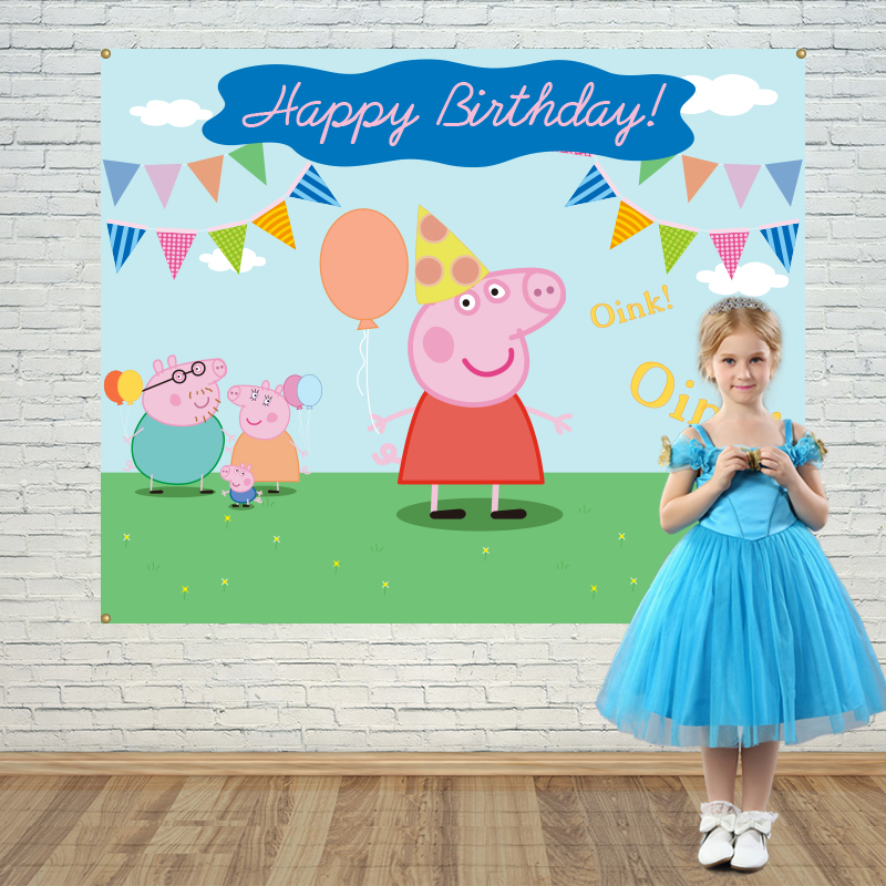 Allenjoy Girls Birthday backdrops Step and Repeat Background Pink pig family party banner Invitation celebration Party customize