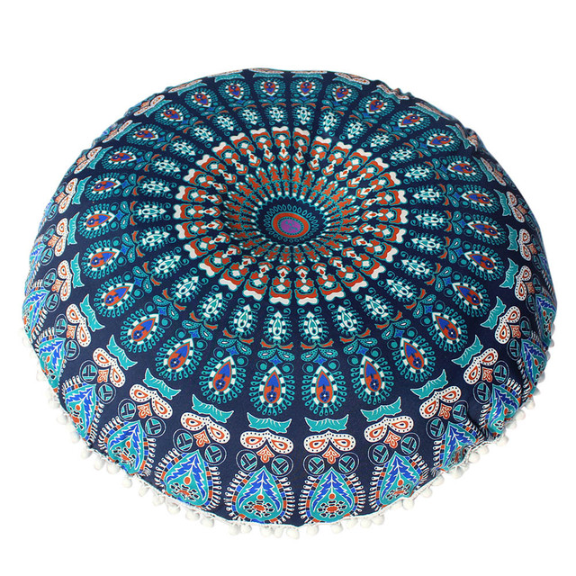2018 Colorful Large Mandala Floor Pillows Round Bohemian Meditation Pillow  Cover Ottoman Pouf High Quality Floor