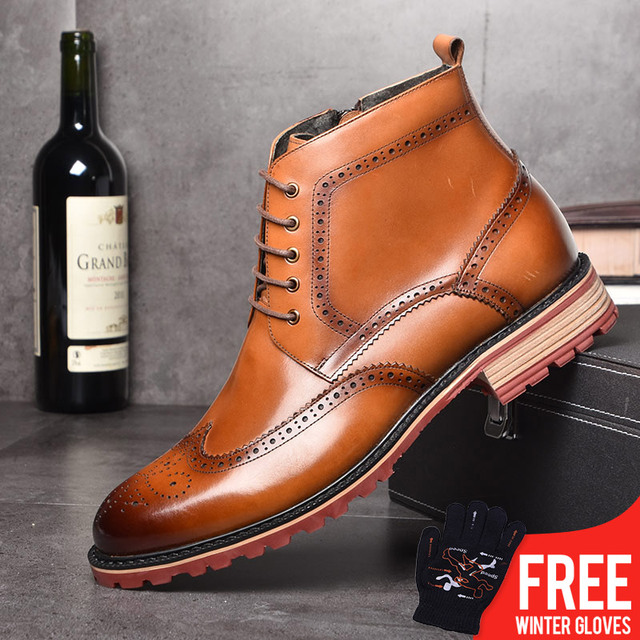 OSCO Herbst Winter Stiefel männer Echte Leder Stiefeletten Hohe Qualität Mode Business Brock Männer Schuhe Schnee Stiefel Männer
