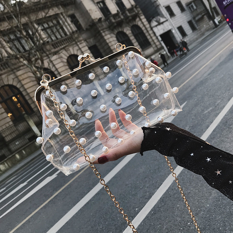 2018 Fashion Pearl Clear Transparent PVC Women Messenger Bag Hologram Laser Colorful Bag Girls Small Chain Clutch Crossbody Bags women cute jelly bag brands pvc chain bag candy transparent messenger bags girls small crossbody handbags