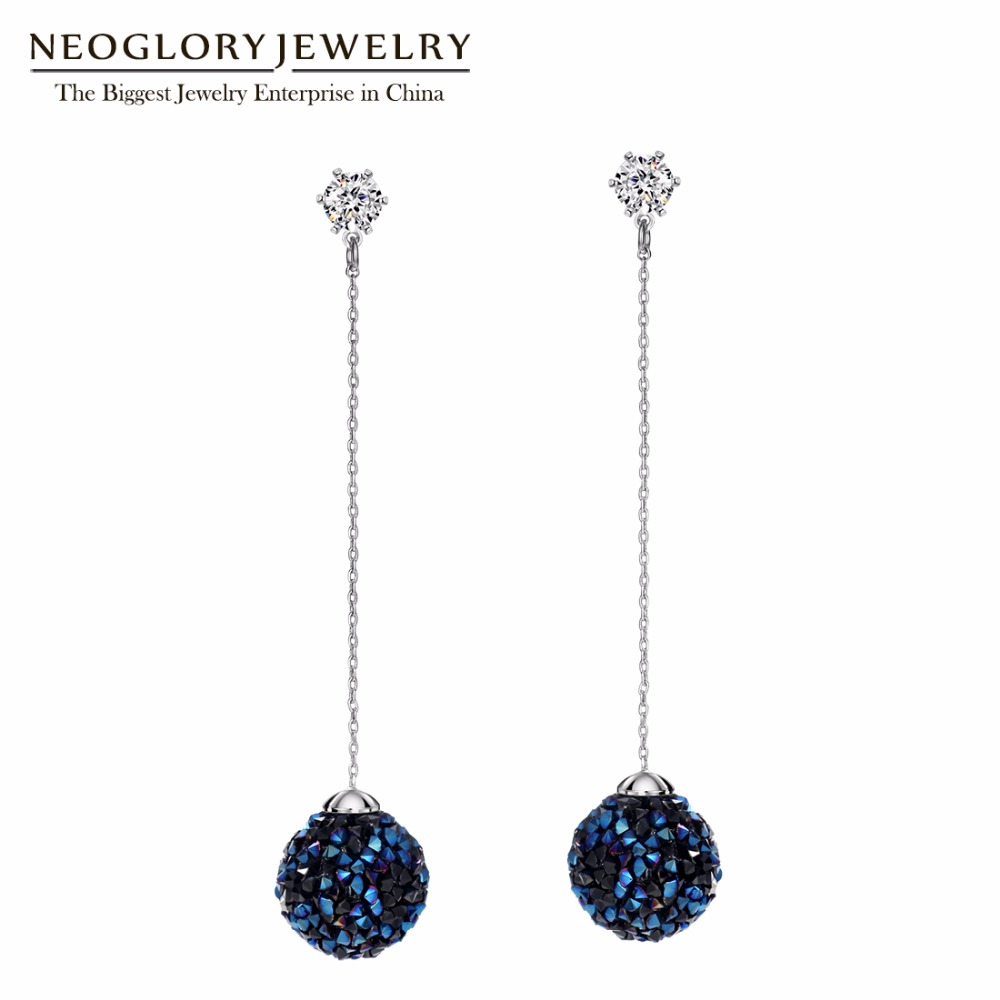 все цены на Neoglory Chandelier Blue Czech Rhinestone Earrings Ball Dangle Earrings Long Earrings for Women 2018 New Brand Gift