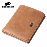 BISON DENIM Fashion Men Wallets Genuine Leather Mini Small Purse Wallet Card Holder With Zipper Coin