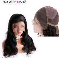 Sparkle Diva Malaysian Body Wave Remy Human Hair Full Swiss Lace Wig With Baby Hair Natural Color Pre Plunk Shedding Free