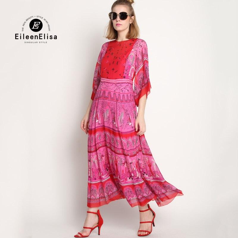 Print Runway Long Dress Vintage Silk Dresses 2017 Summer Women Luxury Maxi Dress Party Dresses