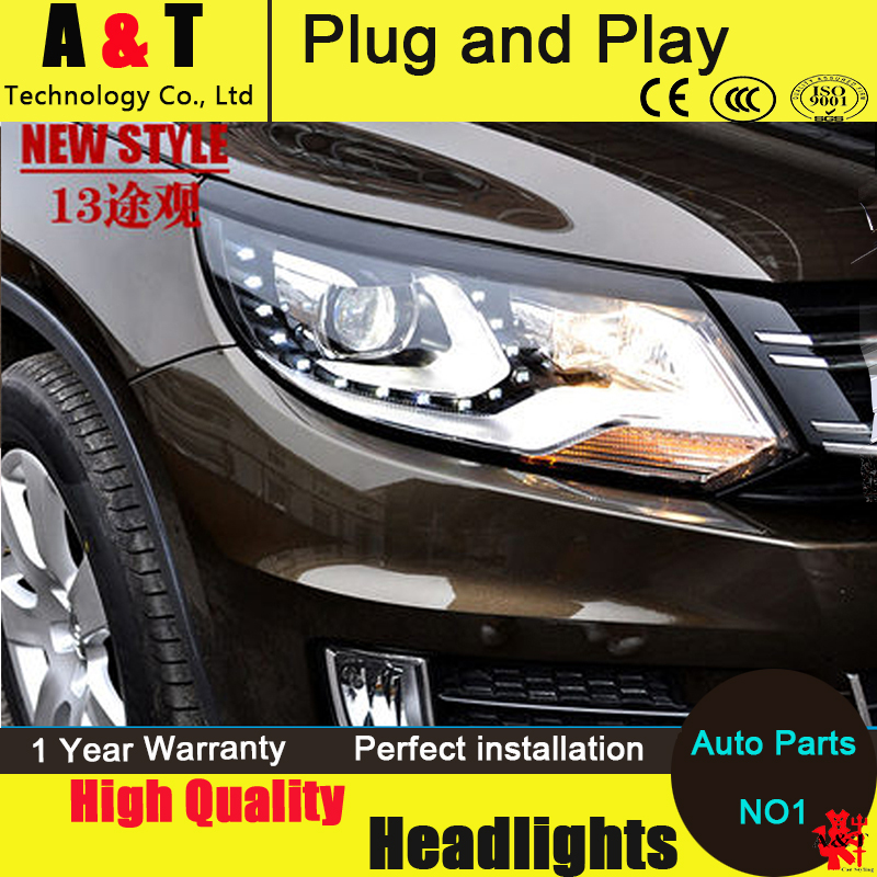Car Styling VW Tiguan headlight assembly 2013-2015 Tiguan LED Headlight TSI Automobile angel eye led drl H7 with hid kit 2 pcs. hireno headlamp for 2016 hyundai elantra headlight assembly led drl angel lens double beam hid xenon 2pcs