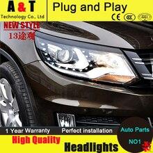 De coches de Estilo VW Tiguan faros 2013-2014 Tiguan Faros LED TSI angel eye led drl automóvil H7 hid Bi-Xenon Lente de baja haz