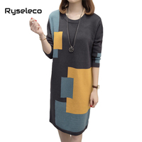 Ryseleco Casual Long Sleeves Winter Plus Size Sweater Dress Fashion Color Patchwork Panels Knitted Oversize Pullovers