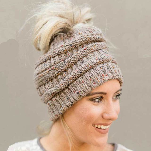 Ponytail Beanie Hats For Women Winter Cap Knitted Skullies Beanies Warm  Caps Handmade Soft Knit Beanie for Ponytails   Buns dfb7ed28724