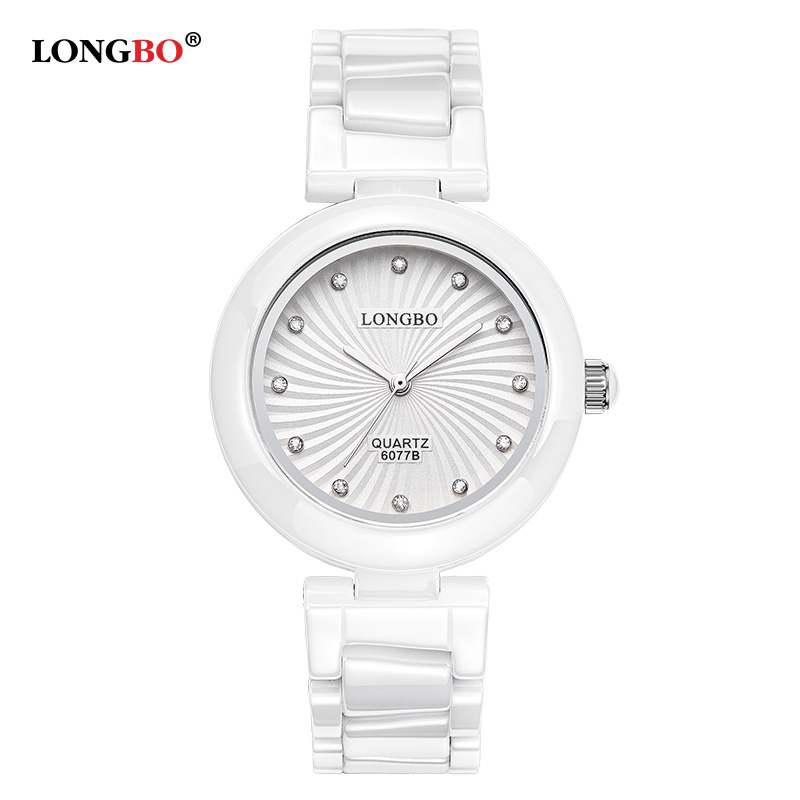 купить LONGBO Fashion White Ceramic Strap Women Watches 2018 Elegant Dress Ladies Luxury Quartz Watch Montre Femme Reloj Mujer Girls по цене 1957.65 рублей