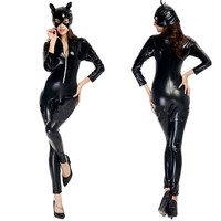 Sexy Woman Halloween catwoman costume Female Kitty Cosplay Tight Leather pole dancing Night Club bar Role play Rave party dress