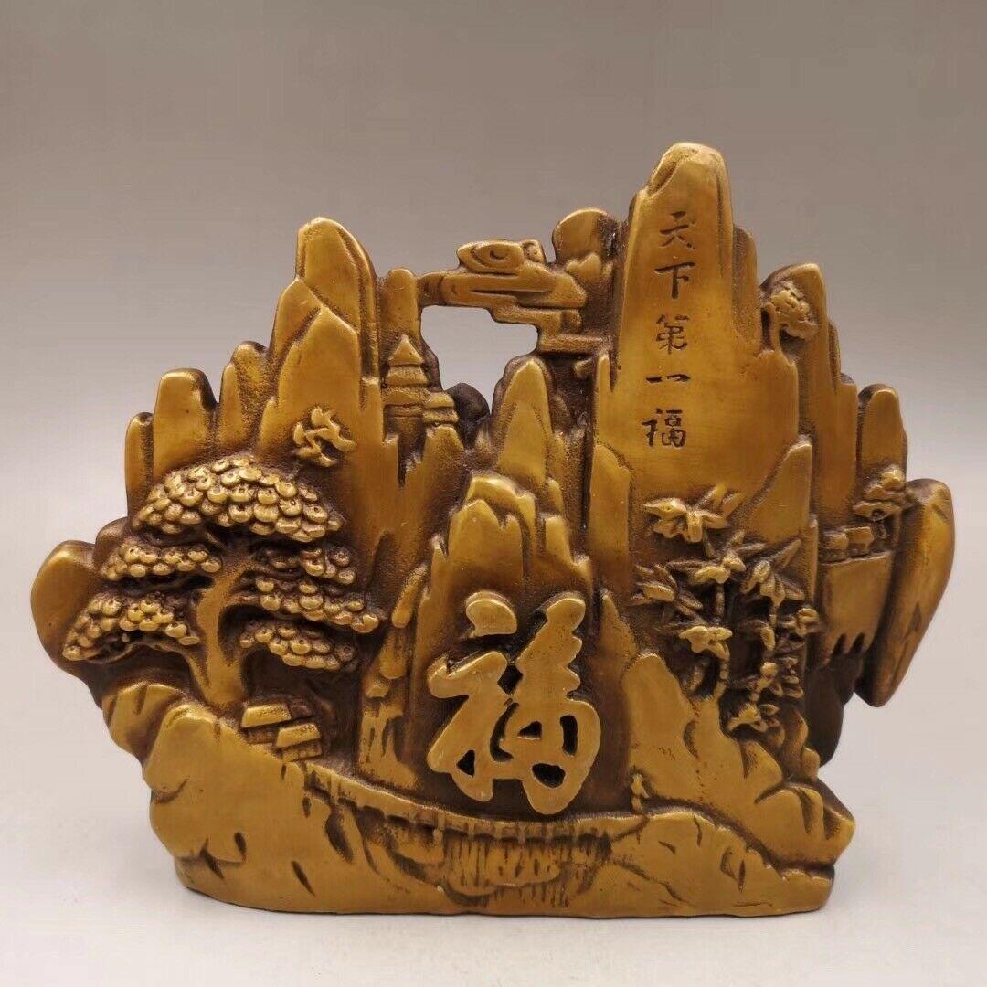 Изысканное китайское старинное медное богатство счастье резьба по горному дереву декорация пейзажа