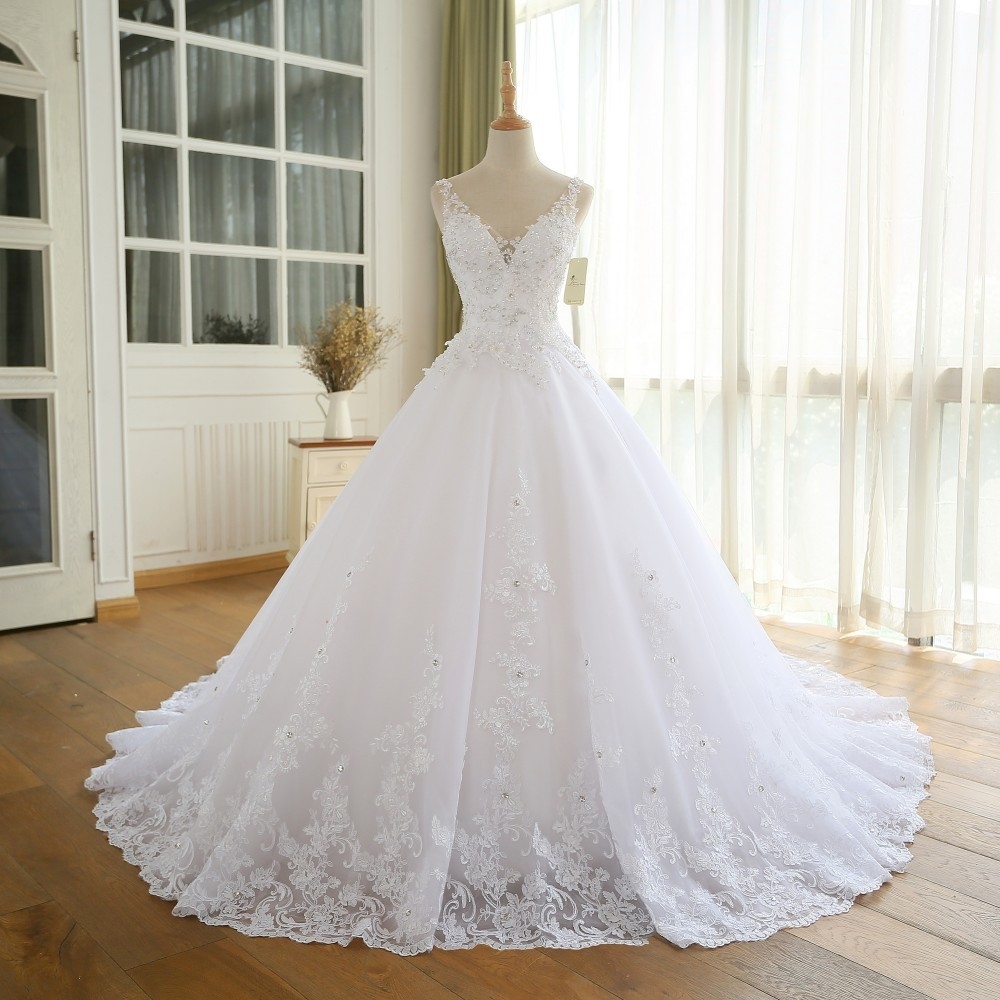 Alexzendra Ball Gown Wedding Dress Double V Neck Applique Beads White Bridal Gown Customized