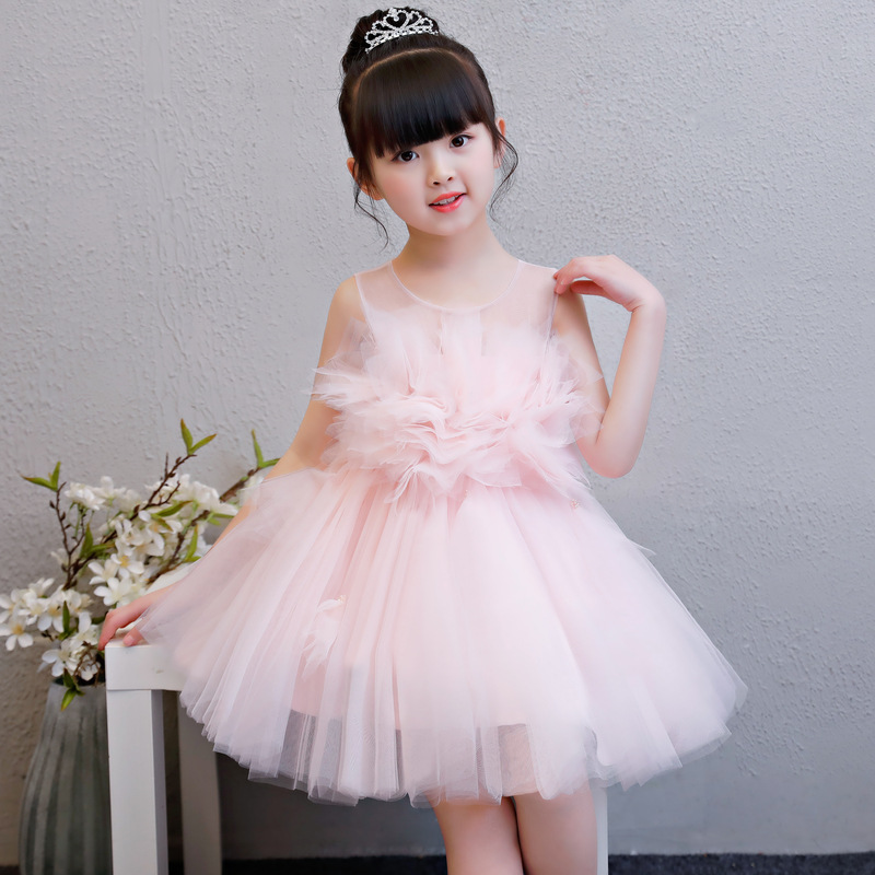 Pink Birthday Princess Dresses New Flower Girl Dresses Ball Gown Kids Pageant Gowns Wedding Girls Party Dress Summer Dress AA227 new dubai girl s pageant dresses crystals blue lace ball gown glamorous kids pageant dress flower girls gowns for wedding