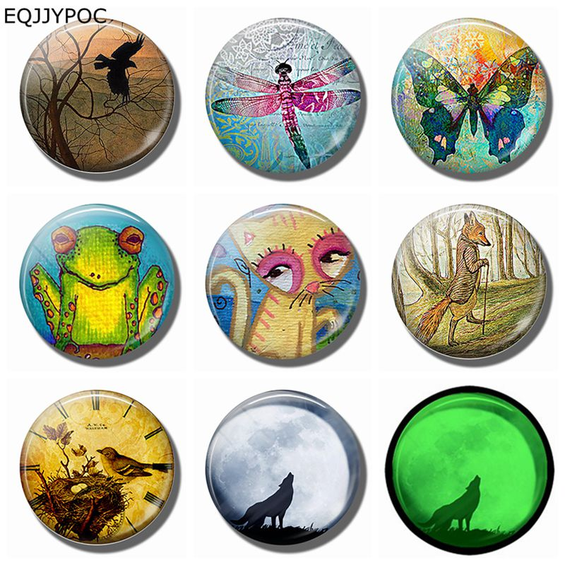 8pcs 25mm Dragonfly Crow Butterfly Cat Wolf frog Decoration Refrigerator Magnetic Stickers Animal Luminous Glass Fridge Magnet