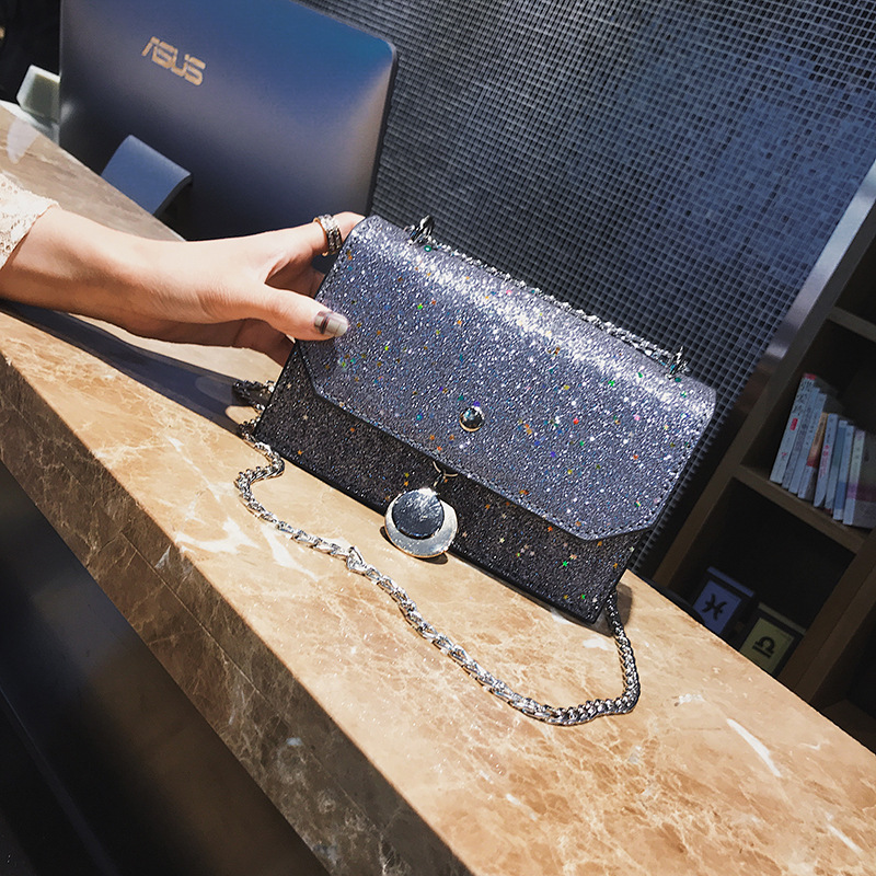 2018 new arrival TinTon Blingbling Chain Shoulder Bags Mini Cover Flap Fashion Sequined Crossbody Bag Ladies Solid Handbags Gift mini gray shaggy deer pvc quilted chain bag with cover real picture