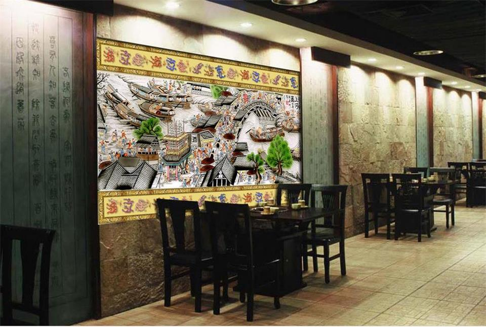 custom 3d photo wallpaper mural FIG Chinese classical painting on the river room TV background wall non-woven wallpaper sticker 3d room mural wallpaper classic star wars movie photo painting custom non woven sticker tv background wall wallpaper for wall 3d