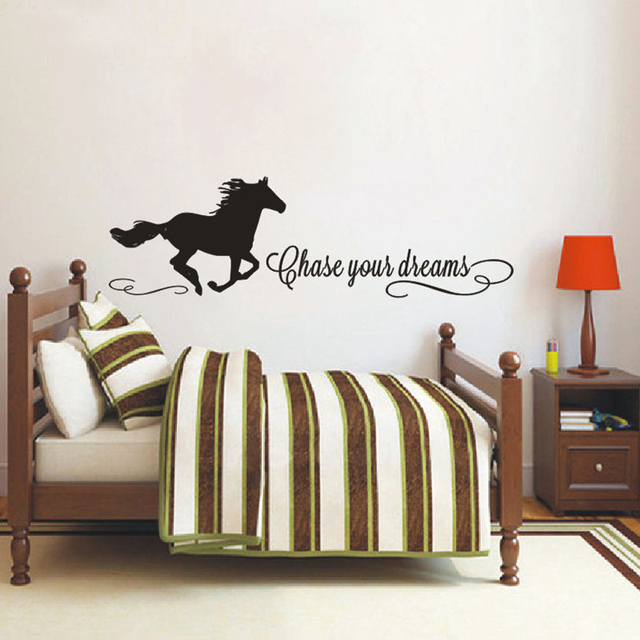 Chase Your Dreams Quotes Wall Decals With Horse Sticker Horse - Wall decals girls room