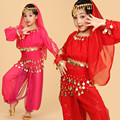 Six Piece Set Chiffon Belly Dance Clothes Pants Veil Costume Indian Belly Dancing Wear Danza Del Vientre Performance Dress LD048