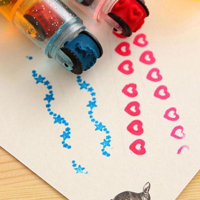 חמוד הילדים DIY קריקטורה מעניין חינוכיים מחזור רולר בלי כרית דיו בעבודת יד יומן Scrapbook אלבום תמונות