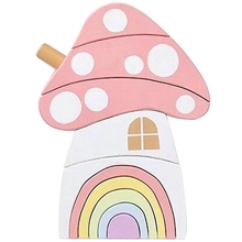 Wood Rainbow Blocks Set Kids Natural Wooden Building Blocks Mushroom Craft Early Learning Educational Toys Baby Room Home Deco цена