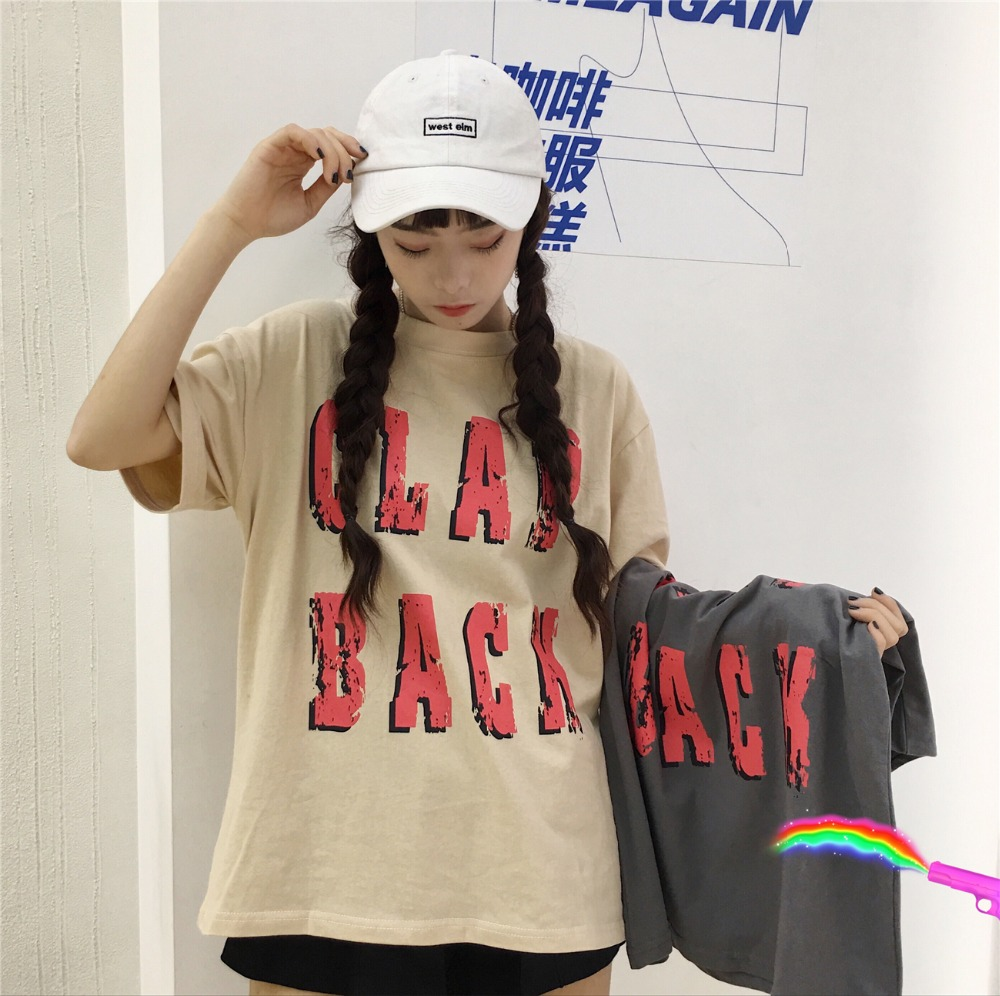 Womens T-shirts Japan Harajuku Ladies Vintage Summer Students Letter Loose Punk Female K ...