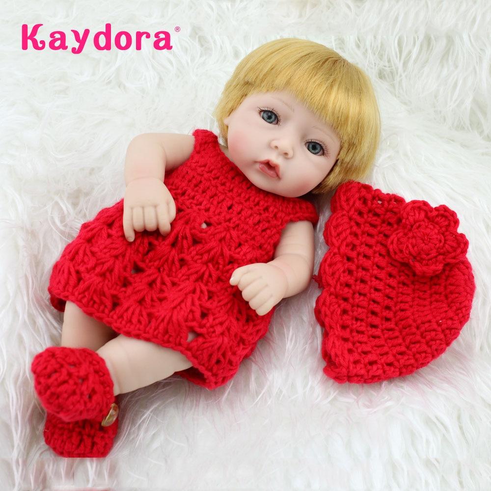 Kaydora 10 Inches Full Vinyl 25cm Mini Cute Girl Handmade Reborn Baby Realistic Reborn Dolls Toy Gift For Children Kids