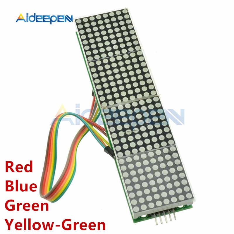 5V MAX7219 LED Dot Matrix Module Microcontroller 4 In 1 Display With 5P Line Red Blue Yellow Green 8x8 Matrix For Arduino