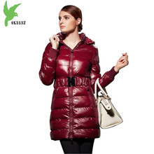 New Women Winter Down cotton Jacket Coats Hooded Parkas Plus size Female Thick warm Jackets Medium length cotton Coat OKXGNZ1116