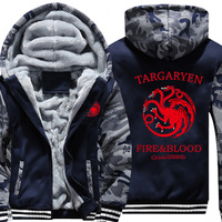 Hot Game Of Thrones House Targaryen Thicken Hoodie Zipper Coat Jacket Winter Warm Hoodies Sweatshirts MEN