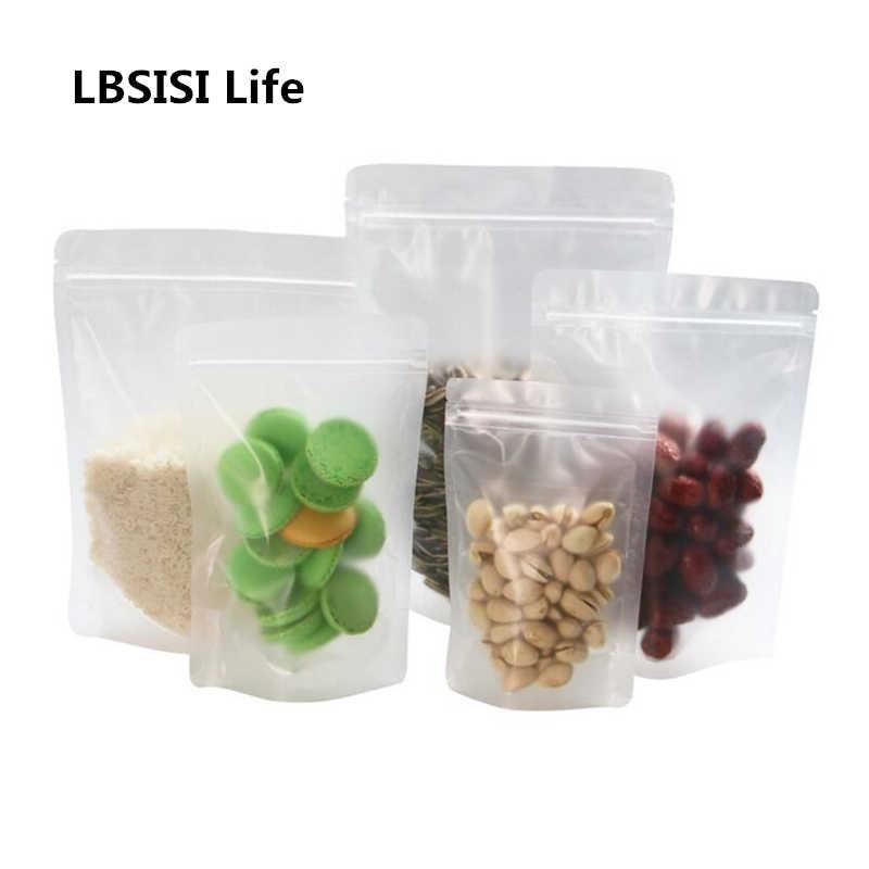 LBSISI Life 50 uds/100 Uds. Soporte autónomo esmerilado Bolsa con cierre de cremallera frutos secos Galleta de caramelo horneado de alimentos bolsa de plástico a prueba de agua