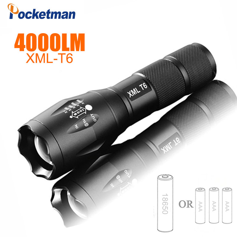 2018 LED Flashlight 18650 torch waterproof rechargeable XM-L T6 4000LM 5 mode led Zoomable light For 3x AAA or 3.7v Battery