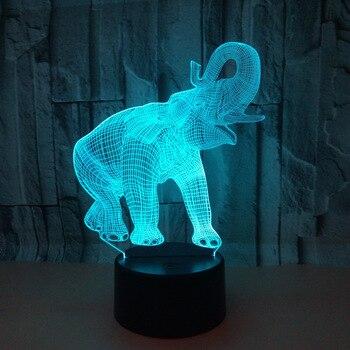 Elefante 3d Luz de siete colores Led táctil Visual Deco lámparas lámpara de escritorio regalo atmósfera Led estéreo lámpara de mesa