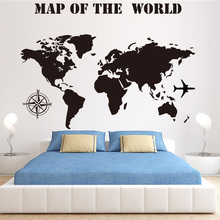 hot deal buy black world map vinyl wall sticker wallpaper for bedroom decor home decoration poster wall decal creative home decor