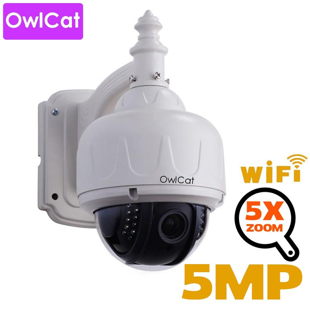 OwlCat HD 2mp 5mp PTZ Speed Dome IP Sem Fio Wi-fi Câmera de Segurança Ao Ar Livre CCTV 2.7-13.5mm de Foco Automático 5X Zoom Cartão SD ONVIF Áudio