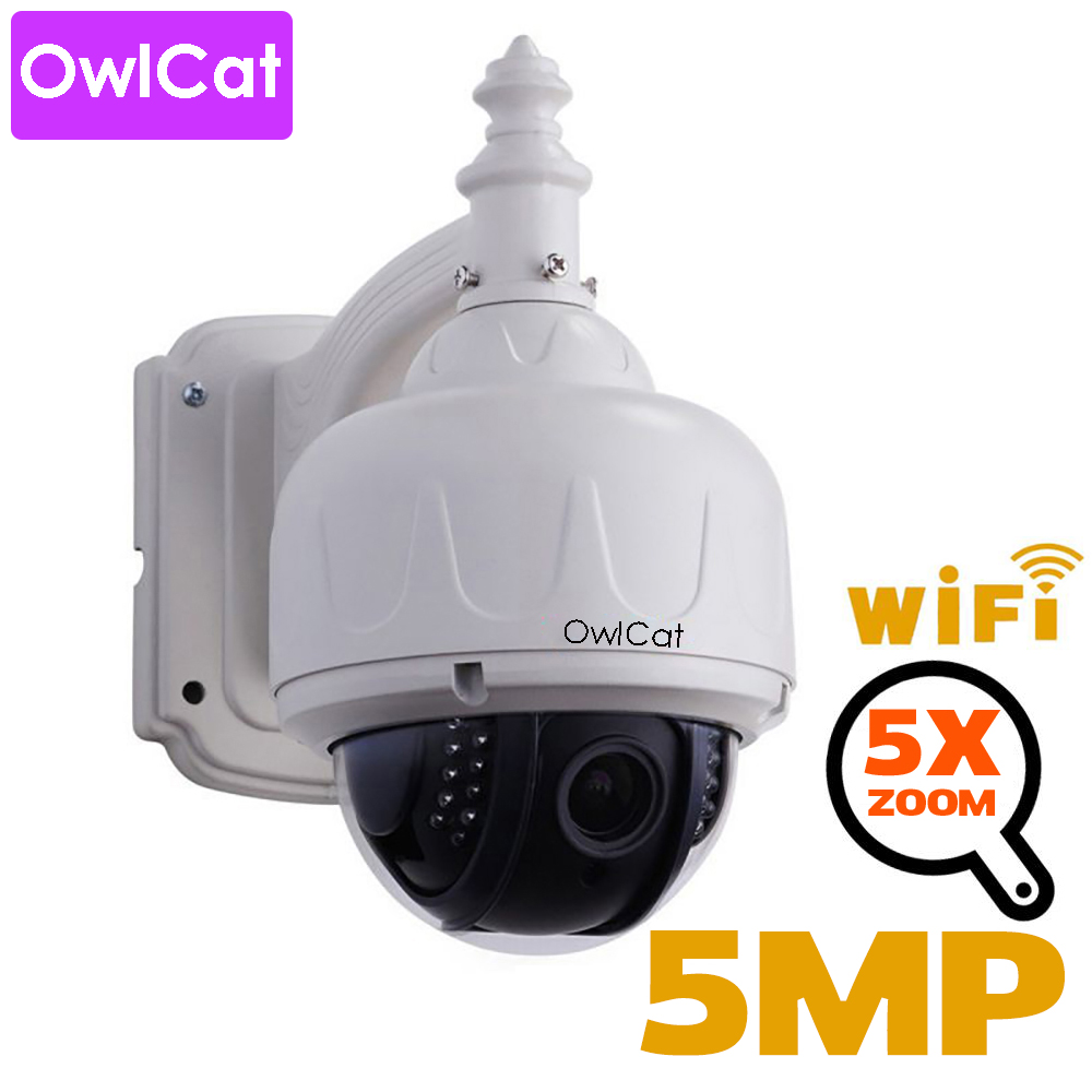OwlCat HD 2mp 5mp PTZ Wireless IP Speed ​​Dome Camera Wifi Utomhus Säkerhet CCTV 2.7-13.5mm Autofokus 5X Zoom SD-kort ONVIF Audio
