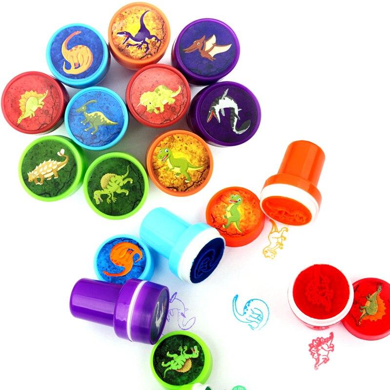 10 pçs dinossauro mini selo festa saco enchimentos pinata favorour presente educativo brinquedo recompensas desenho brinquedo chá de fraldas presente