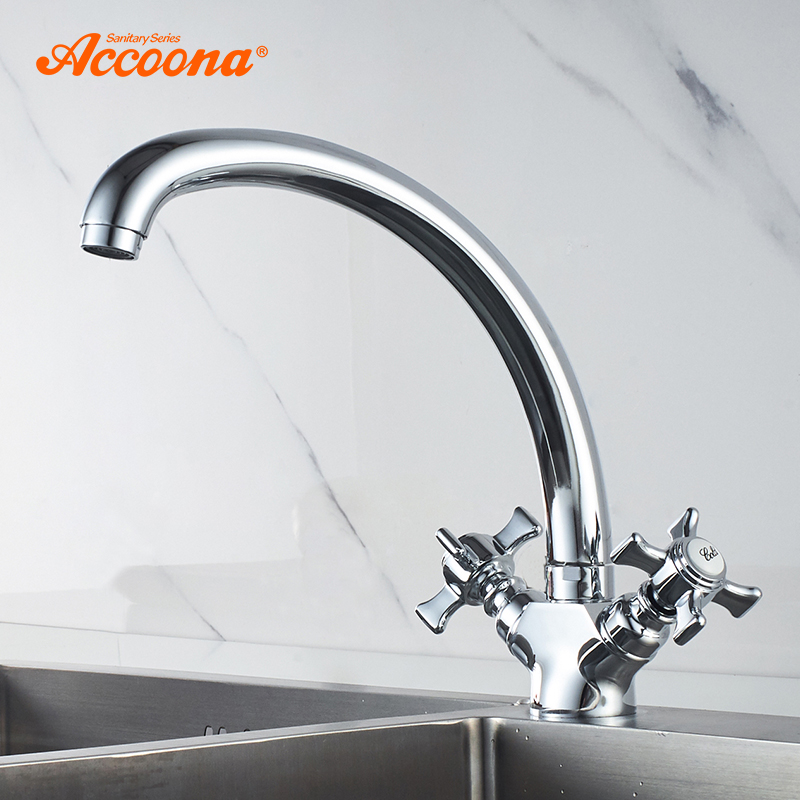 Accoona Kitchen Faucet Solid Brass Water Tap Kitchen Basin Sink Faucets Dual Lever Hot And Cold Water Mixer Tap Crane A4070
