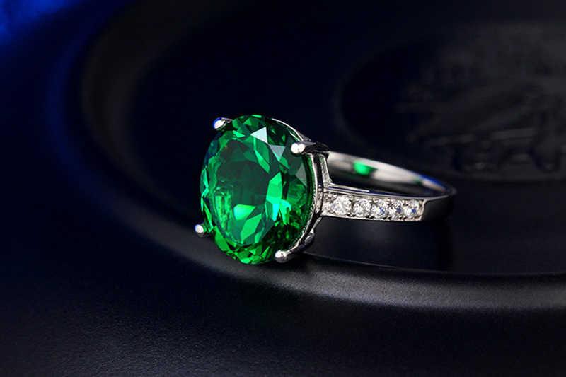 Yanleyu Big รูปร่างไข่สีเขียว Zircon คริสตัลงานแต่งงานเครื่องประดับของแข็ง 925 เงินสเตอร์ลิงแหวนหมั้นสำหรับผู้หญิง PR101