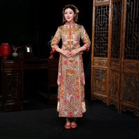 Elegant Chinese Style Women Wedding Qipao Traditional Embroidery Cheongsam Vintage Phoenix Oriental Bride Dress Marriage Suit