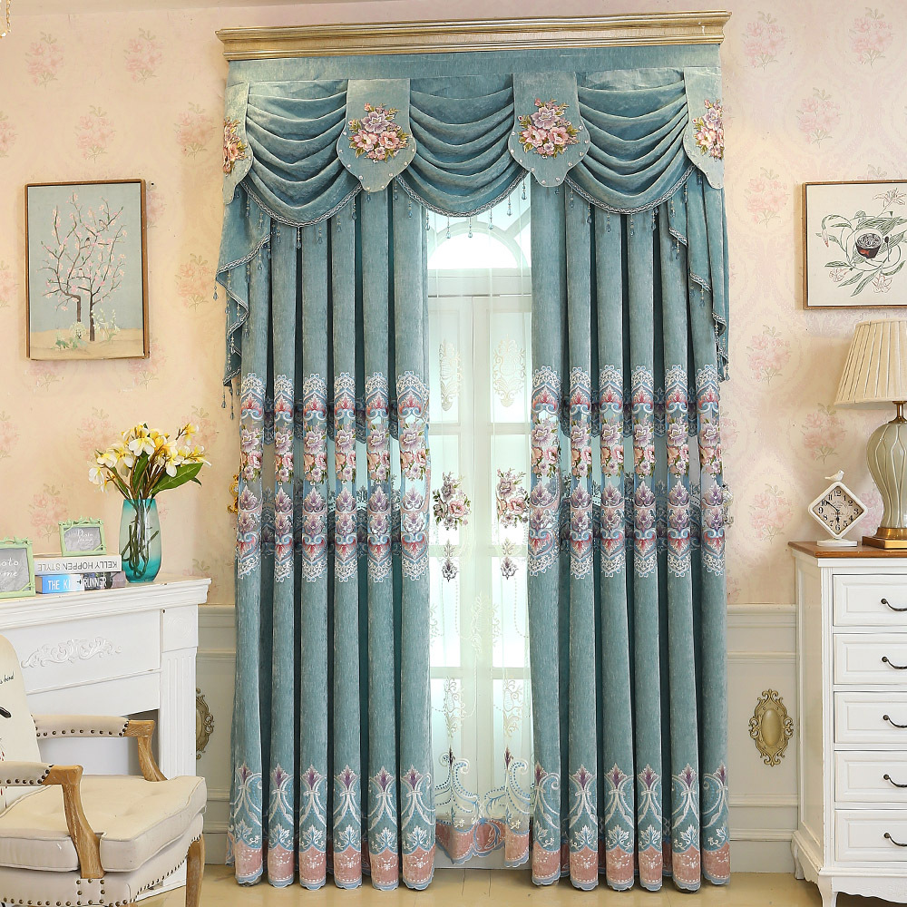 Chenille Cloth High Quality Half shading Embroidered Curtains Window For living Room Bedroom Kitchen Tulle Curtains Valance window valance