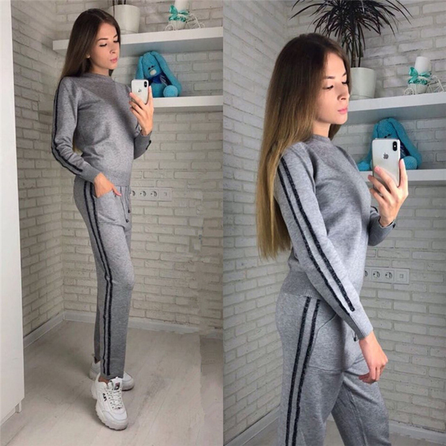 Autumn Winter Women Knitted Tracksuit Stripe Pullover Sweater Sweatshirt And Pants Sporting Suit Two Piece Outfit Set For Female