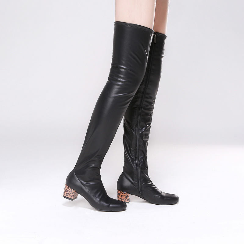 SHOOEGLE Botas Mujer Stretch Leather Thigh High Boots Block Heels Over-The-Knee Boots Casual Style Women Motorcycle Boots