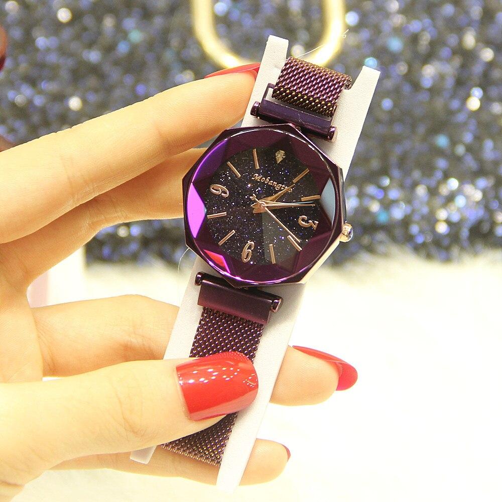 Starry Sky Women Watch Elegant Party Rosefield Wristwatch Fashion Relogio Feminino Luxury Lady Stainless Steel Clock Dropship