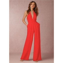 Women Jumpsuit Sexy Deep V Halter Sleeveless Elegant Jumpsuits Casual Wide Leg