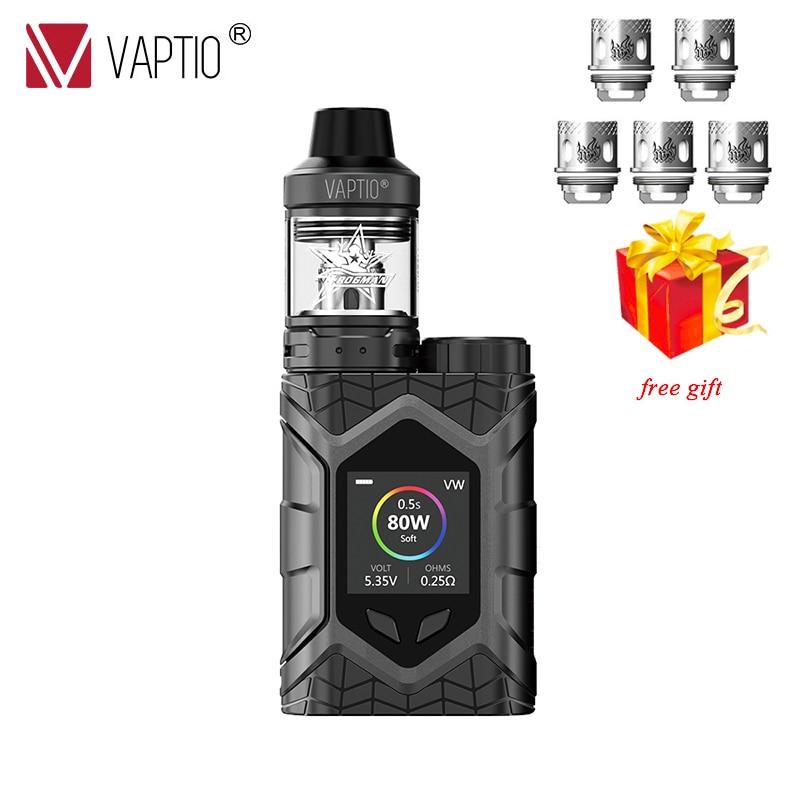 E Cigarette 5.0 ML kit Vaptio mur chenille KIT 80 W résistance 0.05-3.0ohm TCR 1.3 pouces TFT écran fit TFV8 réservoir vaporisateur