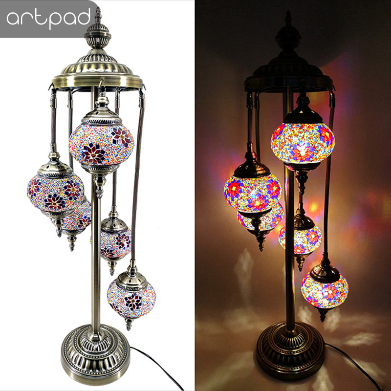 Artpad Traditional 5 Heads Floor Lamp Shade Colorful