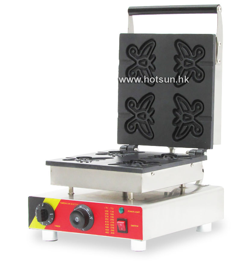 Commercial Non-stick 110V 220V Electric 4pcs Butterfly Shape Waffle Stick Maker Iron Machine