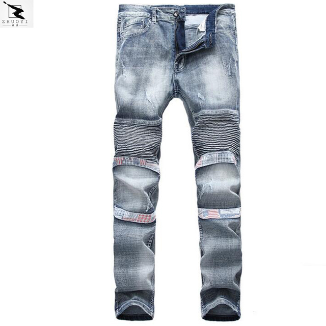 Men jeans Slim jeans men high quality straight casual denim pants fold elasticity jeans men trousers