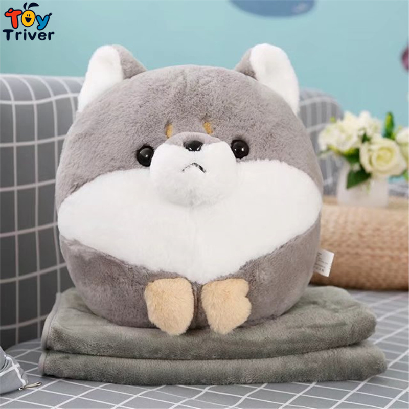 Plush Shiba Inu Dog Portable Blanket Stuffed <font><b>Toy</b></font> Doll Baby Shower Car Air Condition Travel Rug Office Nap Carpet Birthday Gift